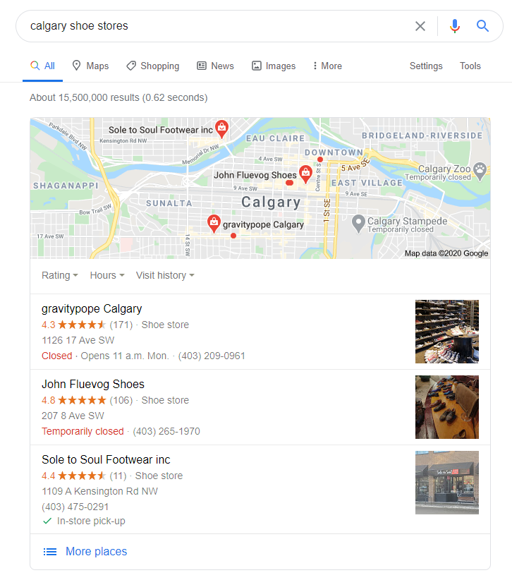 Google My Business 3-Pack of Calgary Shoe Stores