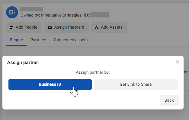 Assign Partner by Business ID - Business Settings