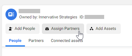 Ad Account Assign Partners buttons