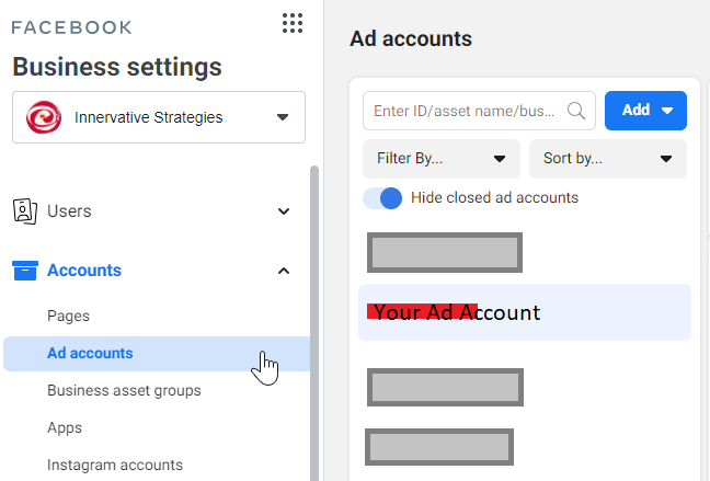 Facebook Business Settings - Accounts - Ad Account