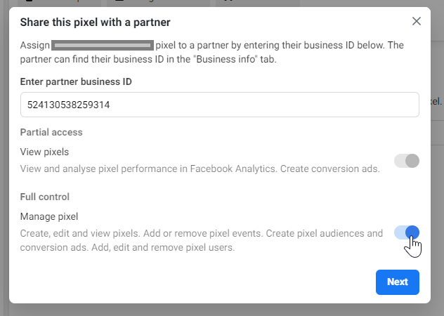 Share Pixel Permissions - Business Settings