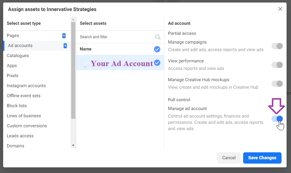 Add Partner to Ad Account - Business Settings