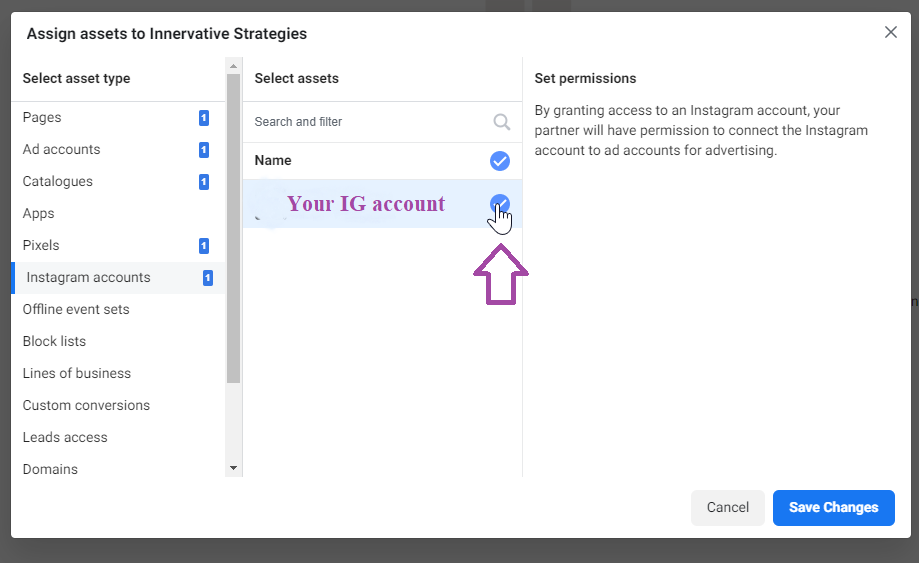 Add Partner to Instagram Account - Business Settings